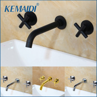 KEMAIDI Taps Fashion Wall Sink Basin Mixer Tap Set Bathroom Spout Faucet With Double Lever In Matt Black/Polished Gold