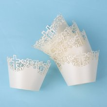 50pcs Filigree Vine Cross Cupcake Wrappers Clouds Muffin Paper Cup Cake Wedding Gift Box Birthday Party Favor Baby Shower Decor