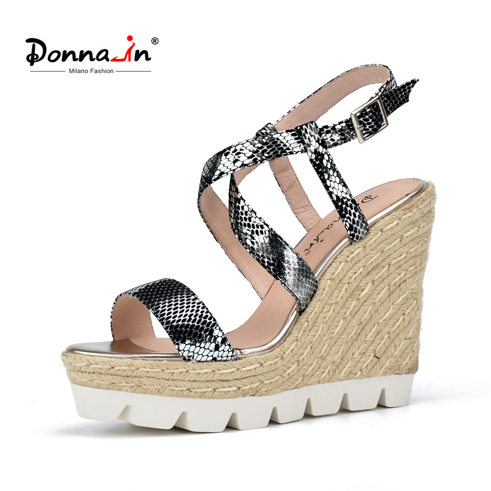 Donna-in Women Sandals 2018 Summer Leather Ladies Shoes Platform High Heels Wedge Sandals cross strap gladiator sandals women cross cross suede wedge sandals
