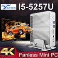 5Gen Intel Core i5 5257U 5250U 5200U 4258U Бродуэлла PC Win10 Безвентиляторный Mini PC 4 К HTPC Графики Iris 6100 HD 6000 2 Lan 2 HDMI