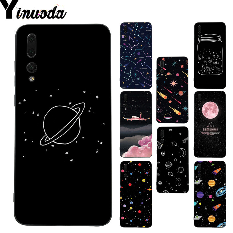 Izyeky Case For Huawei P20 Lite Cute Universe Planet Moon Star Phone Back Cover For Huawei P20 Pro Coque Case For Huawei P20 Half-wrapped Case