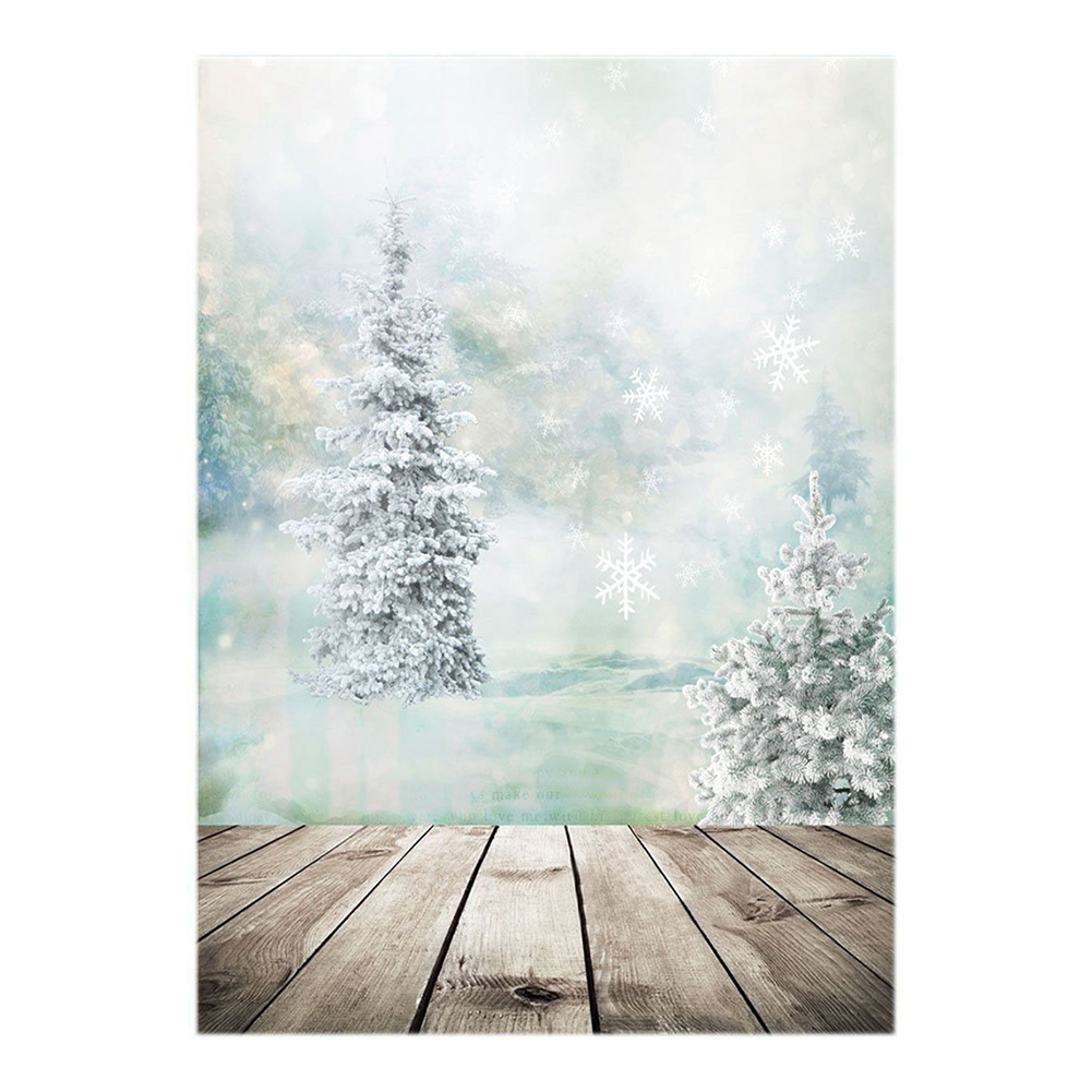 Thin Vinyl Studio Christmas Tree and Snow with Wood Floor Backdrop CP Photography Prop Photo Background