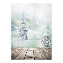 Тонкий винил Studio Новогодние товары Дерево и снег с деревянный пол фон CP Опора фото Задний план 5x7FT ZZ110