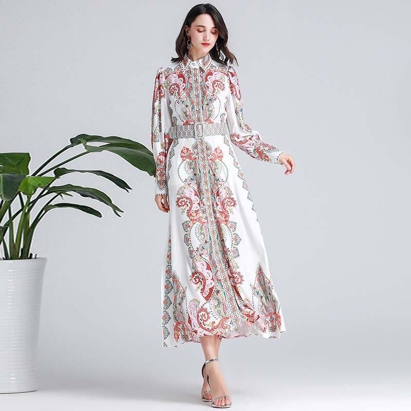 Vestidos de pasarela de diseñador para mujer vestidos de manga larga con cuello vuelto impresos elegantes de moda con cinturón-in Vestidos from Ropa de mujer    2