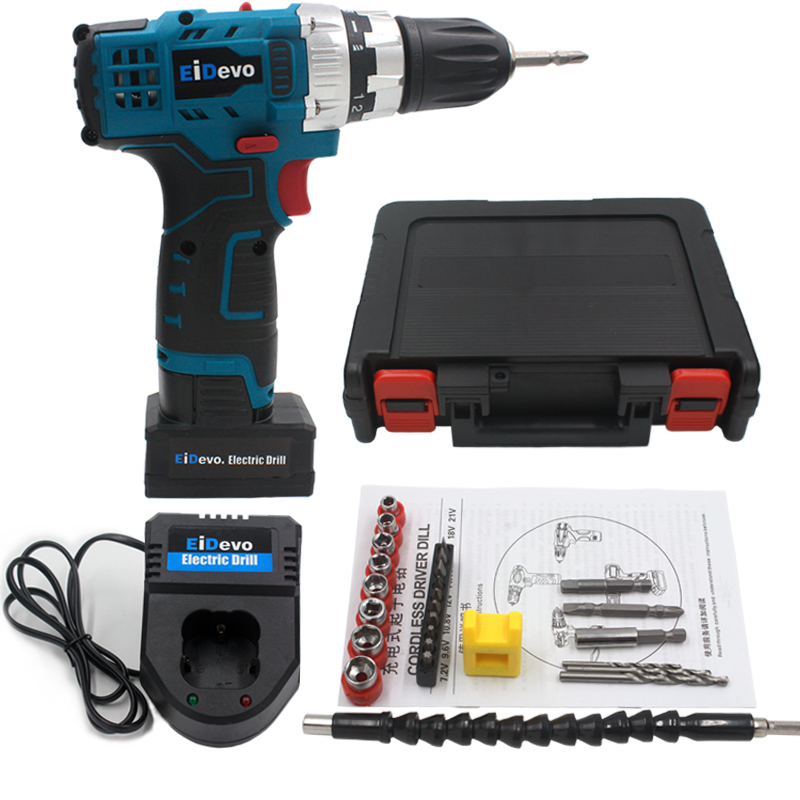 цена на 25V Electric Cordless Screwdriver Rechargeable Drill with bits flexible connector screw nuts cordless drill electric power tools
