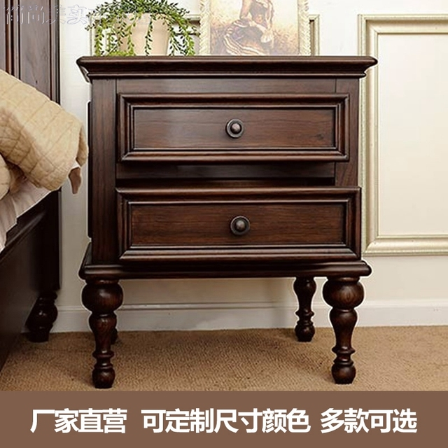 American wood bedroom bedside cabinet. The rural pastoral corner drawer cabinet Mini European lockers Bedside table solid wood