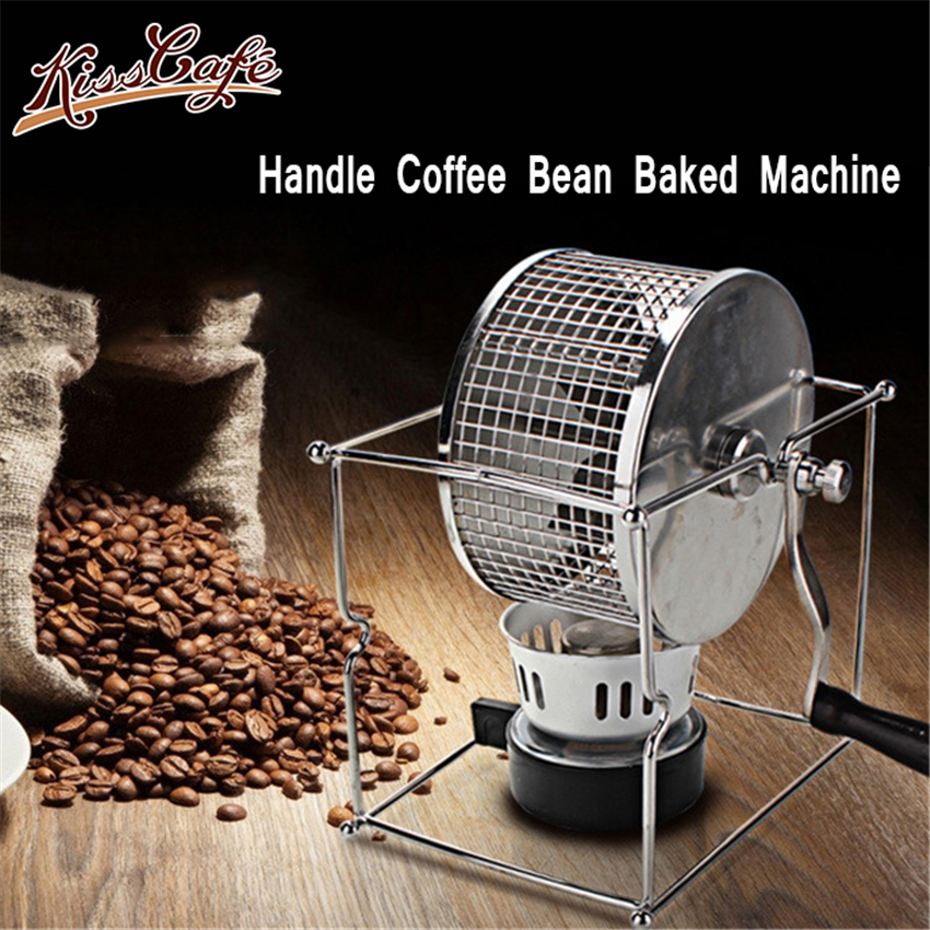 Handle Coffee Bean Baked Machine Beans Roasting Machine Manual Beans Roaster Mini Baking Maker DIY Small Stainless Steel Rollers(China)