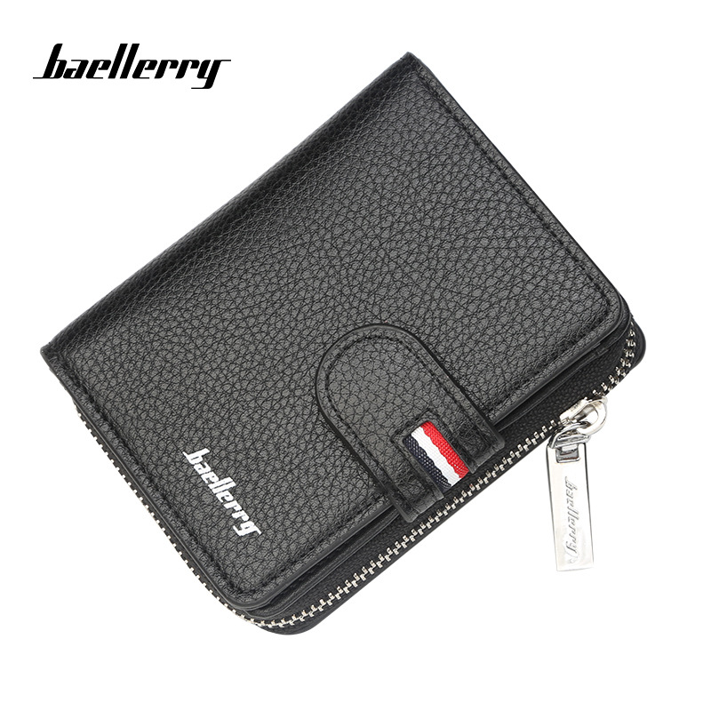 Baellerry 2018 New men wallet fashion short leather wallet for male vintage card purse with zipper coin pocket men's purse