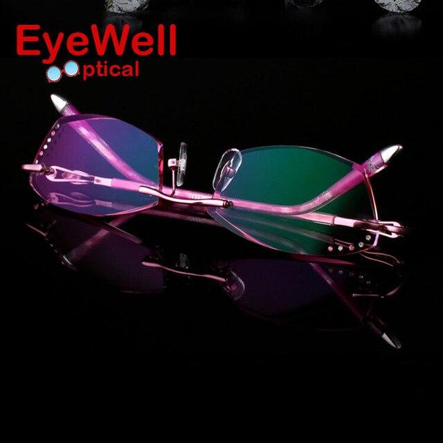 77a65d1142 New Rimless Korean Women Optical Frame Including 1.61 Asphereic Tinted HMC  UV400 EMI Lens High-