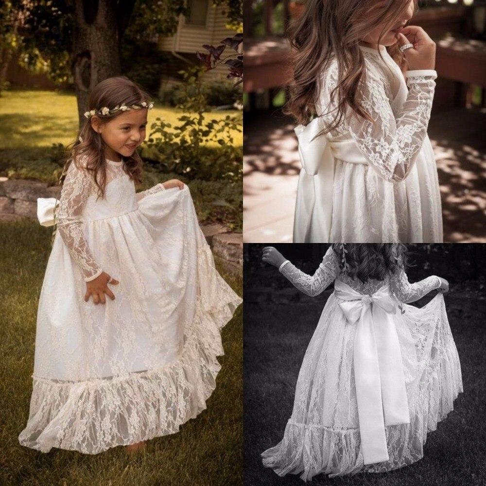 White Ivory Boho Flower Girl Dresses First Communion Dress For Little Girl O Neck Long Sleeve A-Line Kids Birthday Party Dress