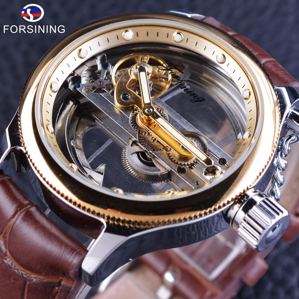 Forsining Brown Leather Belt Steampunk Hollow Full Transparency Mens Watch Top Brand Luxury Automatic Skeleton Wrist Watch Clock forsining golden case steampunk automatic wrist watch mens skeleton watches top brand luxury uhren men genuine leather clock