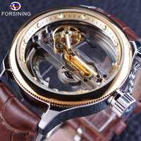 Forsining Brown Leather Belt Steampunk Hollow Full Transparency Mens Watch Top Brand Luxury Automatic Skeleton Wrist Watch Clock