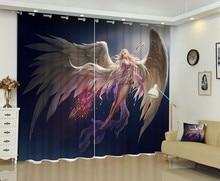 2017 angel prints Luxury 3D font b Curtains b font Drapes Custom Living room Bed room