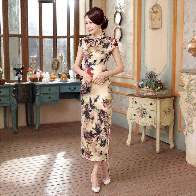 Vintage Handmade Button Chinese Style Women Long Satin Cheongsam Qipao Summer New Flower Sexy Dress S M L XL XXL XXXL C0043