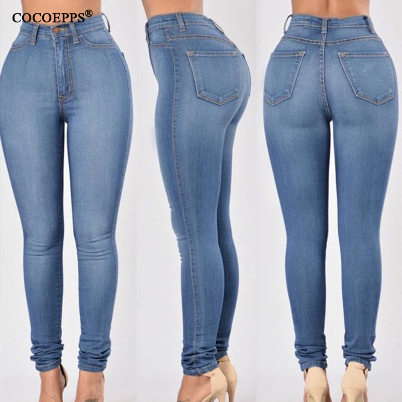 2017 Fashion Plus Size Pencil Pants Casual Big Size High Waist Jeans Sexy stretch jeans Women's Clothing Demin Feminino Trousers aliexpress monikubu fashion casual big plus size clothing clothes denim jeans pants trousers for womens female feminino woman