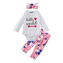baby girls clothing set 3pcs arrow letter romper+flowers pants+bow headband girl clothes 2017 fashion toddler girl clothing sets