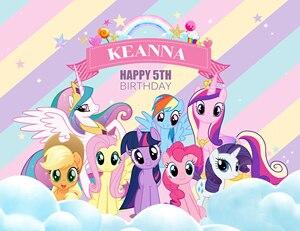 Image 2 - XQ0041 Vinyl Geburtstag Neugeborenen Kulissen Rainbows Little Pony Nach Foto Studio Hintergrund fotografie achtergrond Photocall