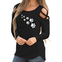 Для женщин рубашка с длинными рукавами Топы с изображением милых кошечек и отпечатков лап принт на бретелях рубашка с прорезями на плечах, топы, блузки, воротник-стойка, блузки топы Блузы
