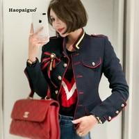 Fashion Plus Size Autumn Winter Women Coats 2018 Blue White Full Sleeve Stand Vintage Navy Uniform Coat Ladies Outwear Coats