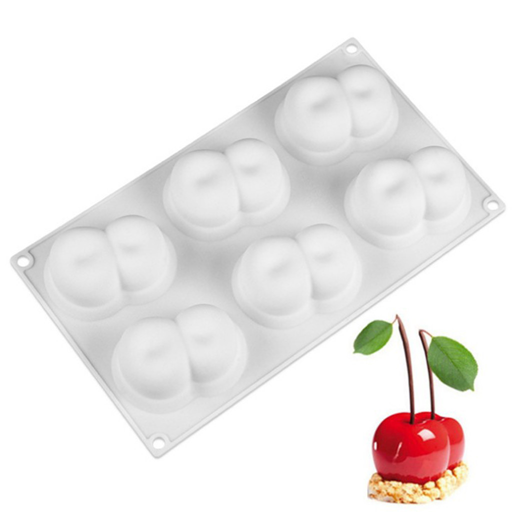 1Pcs Double Cherry Shape Silicone Mousse Cake Mold Decorating  6 sets of Cherry Cake Mold Baking Mould DIY L611