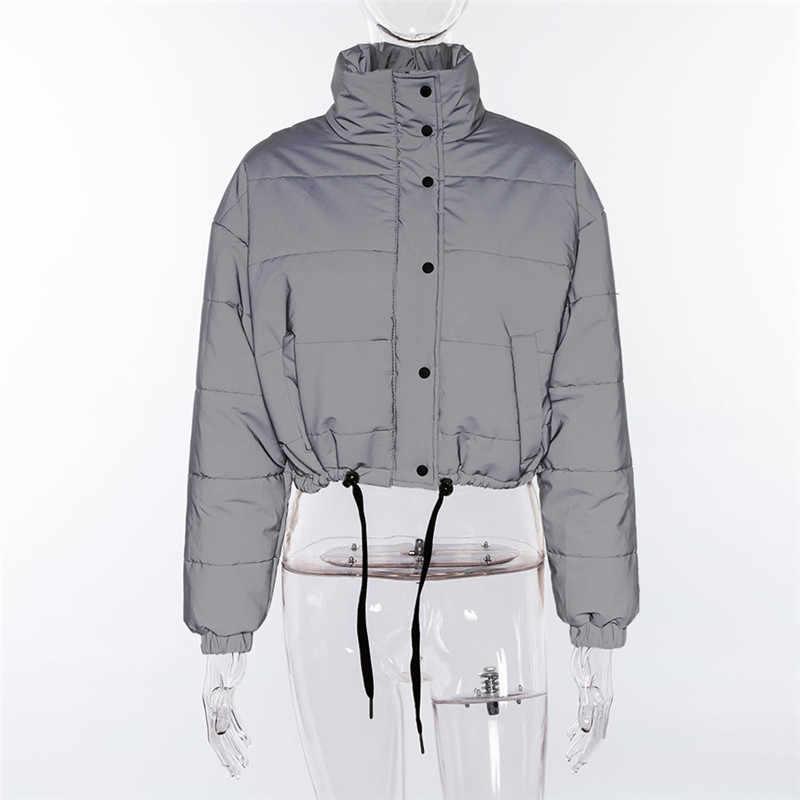 que buen look unos dias último estilo de 2019 BOOFEENAA chaqueta reflectante abrigo de invierno para mujer Parka  Streetwear moda 2018 cálido Casual acolchado chaqueta cortavientos C87-CZ91