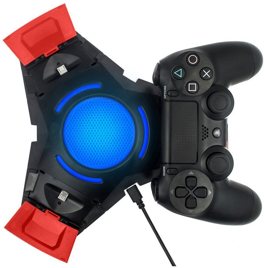 For Playstation 4 PS4 PRO Slim DualShock 4 Gamepad Controllers Charger Docking Station Tripple Charging Station With BLUE LED