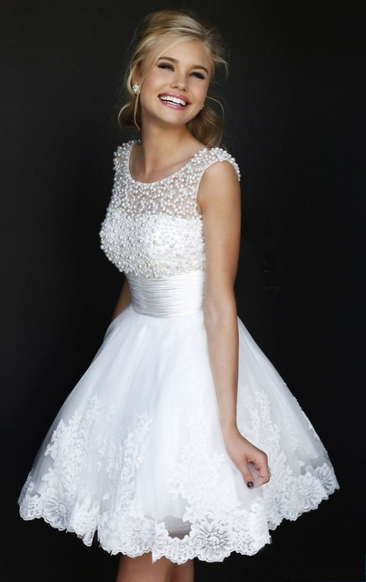 69a0a972ce0 2015 Cute 8th Grade Beaded White Graduation Dresses Short Lace Beautiful  Custom Made Gown For Girls