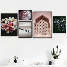 Lily Flower East Gate River Bridge Wall Art Canvas Painting Abstract Nordic Posters And Prints Pictures For Living Room