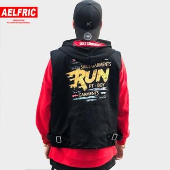 Chaleco AELFRIC hombres Hip Hop chaqueta sin mangas letra 3d estampado  Streetwear moda cintura abrigo bolsillos Hip Hop chaquetas tácticas KJ303 accbb0dd0f6