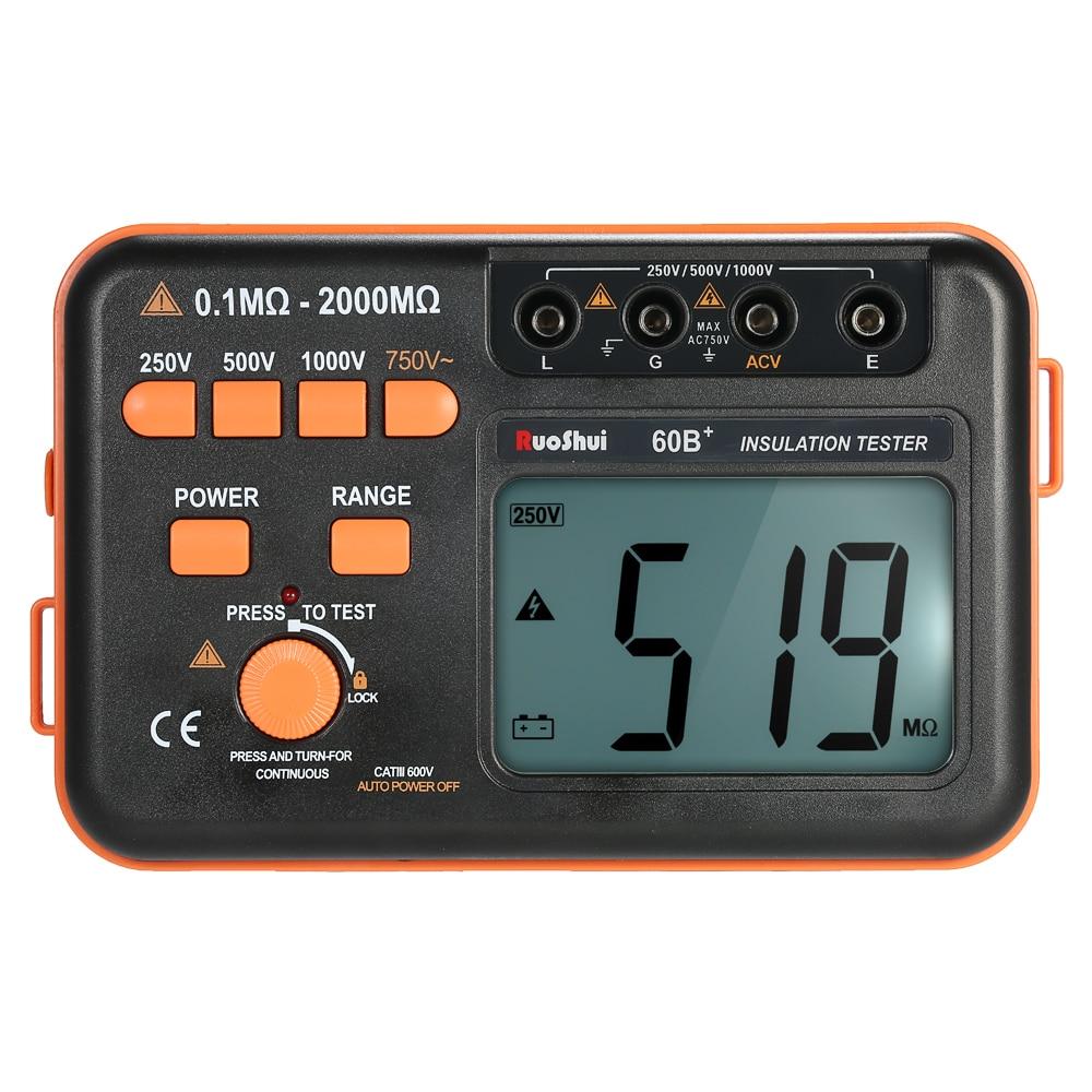 RuoShui 60B+ 1000V Insulation Resistance Meter Ground Tester Megohmmeter Voltmeter w/LCD Backlight Display with Multimeter insulation resistance tester megohmmeter voltmeter dvm with lcd backlight