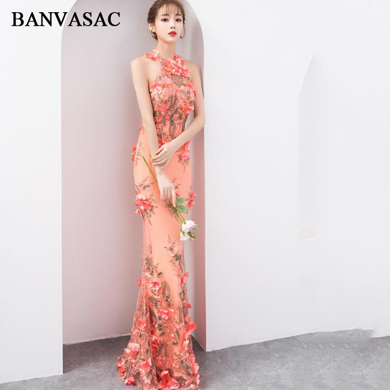 BANVASAC 2018 Halter Lace Flowers Appliques Mermaid Long   Evening     Dresses   Off The Shoulder Backless Party Prom Gowns