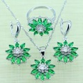 Reginababy Green Created Emerald Jewelry Set For Women Gleaming Silver color Zircon Rings/Earrings/Necklace/Pandent