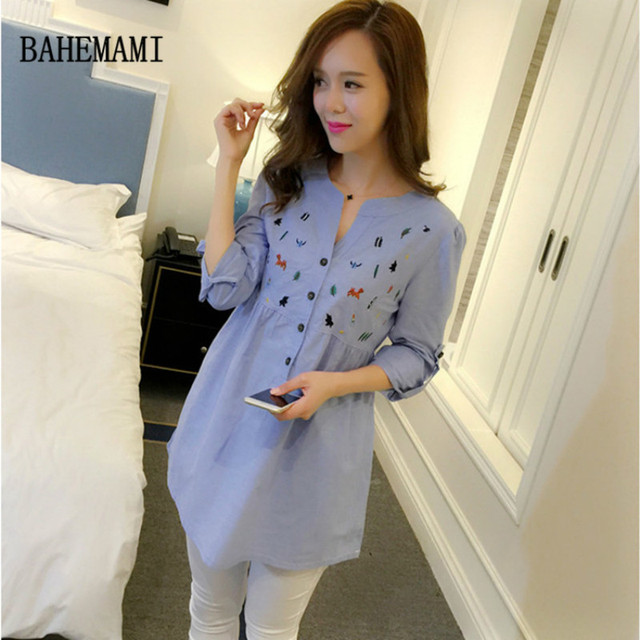 Maternity Clothes Pleated Embroidery Cotton Maternity Shirt Spring Autumn Blouse Tops Clothes For Pregnant Women Pregnancy