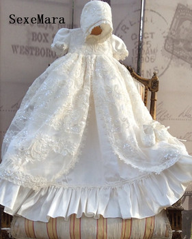 Lolita White Ivory Christening Gown Lace Sequins Baby Girls Baptism Dresses With bonnet Infant Girls Christening Dress Any Size