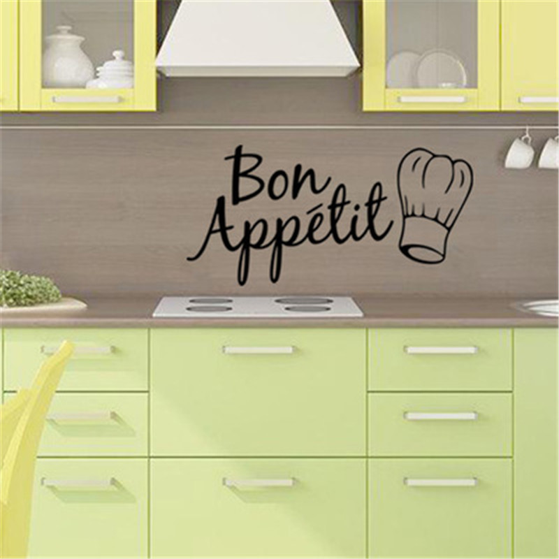 Kitchen Wall Stickers Bon Appetit French Food Quote Wall Decal Dining Room Removable Wall Decor Art Posters Wall Papers