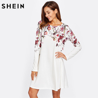 SHEIN Botanical Print Flowy Dress Women White Boat Neck Long Sleeve Casual T-shirt Dress Autumn A Line Floral Dress