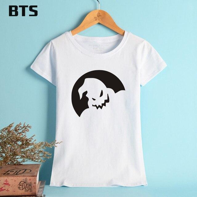 d7a813fc8ed2d BTS The T-shirt Women Plus Size Halloween Print Summer Tshirts Women Black  Pure Cotton Children Tees
