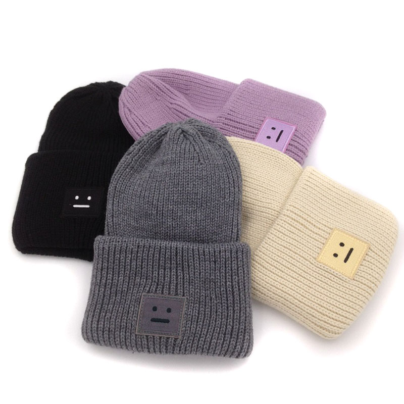 Embroidery square smile winter knitted hats for women unisex skulliles   beanies   men baggy warm gorro thicken warm cap