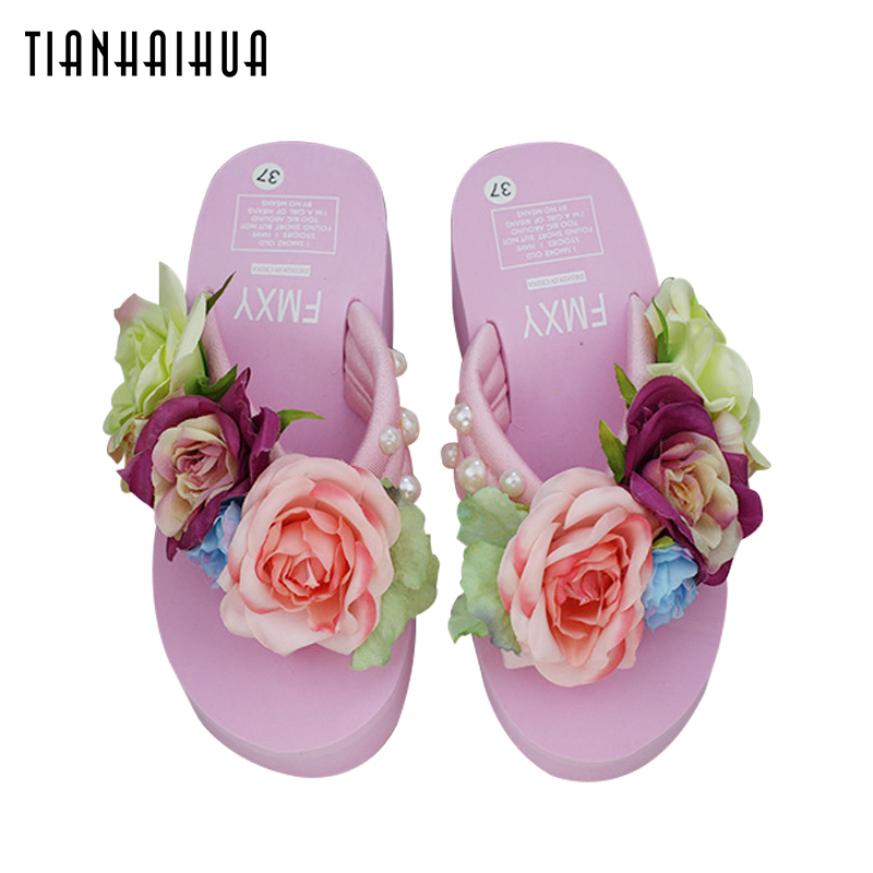Handmade Flower Pearl Slope Platform Summer Shoes Women 2018 6CM Sandals Wedge Flip Flops Slope Heel Thick Beach Bottom Slippers цена 2017
