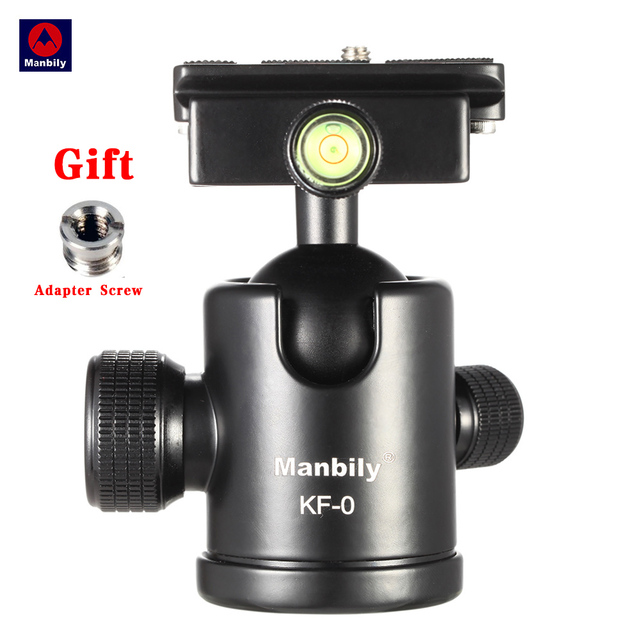 Manbily KF-0 Camera Tripod Ball Head Aluminum Alloy Ballhead Panoramic Head Sliding Rail Head with 2 Built-in Spirit Levels