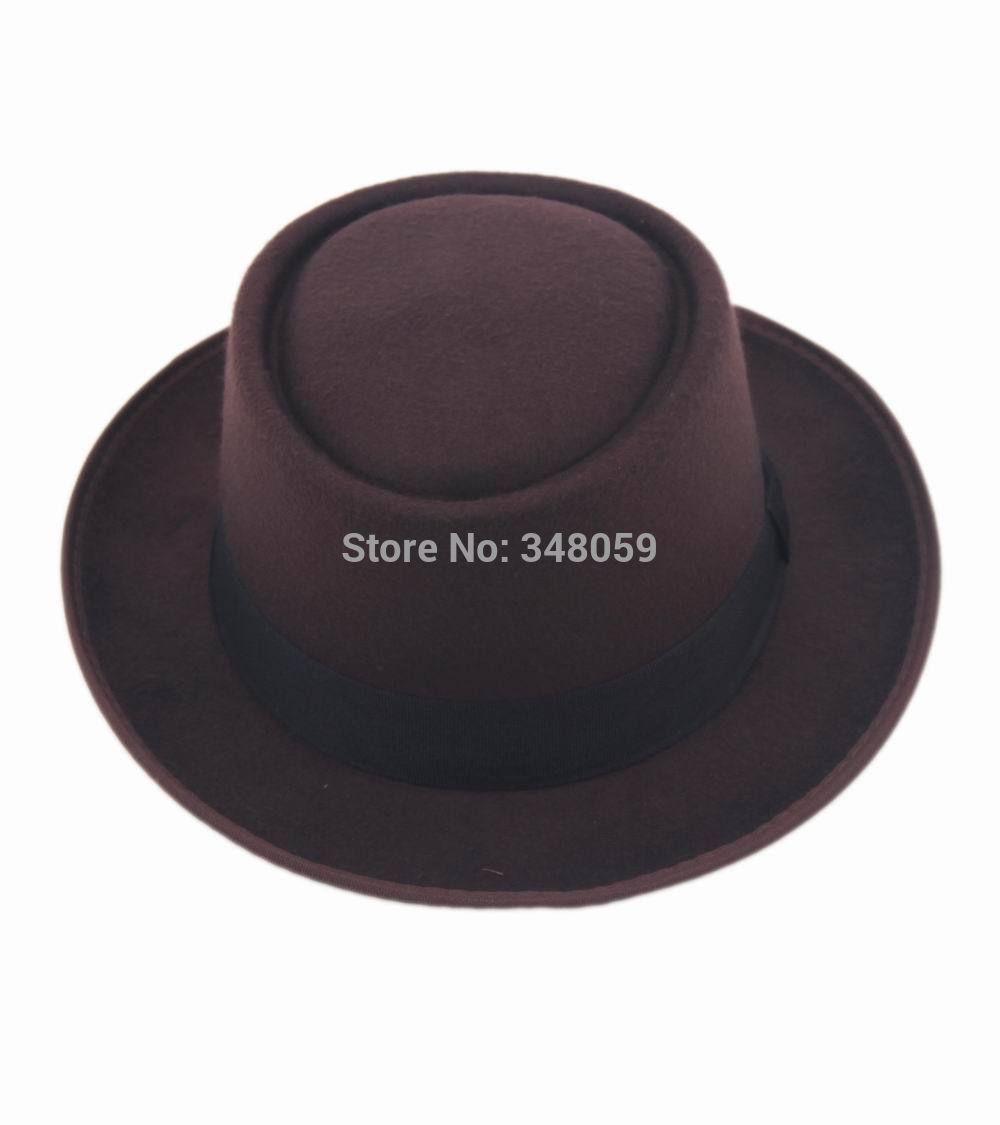 2015 Fashion Men Classic Felt Pork Pie Porkpie fedora Hat Chapea Cap Upturn Masculino Black Ribbon Band panama hats 5