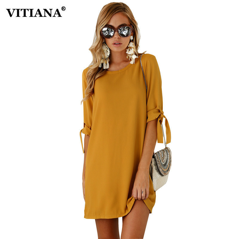 Women Casual Shirt Dress 2017 Summer Autumn Half