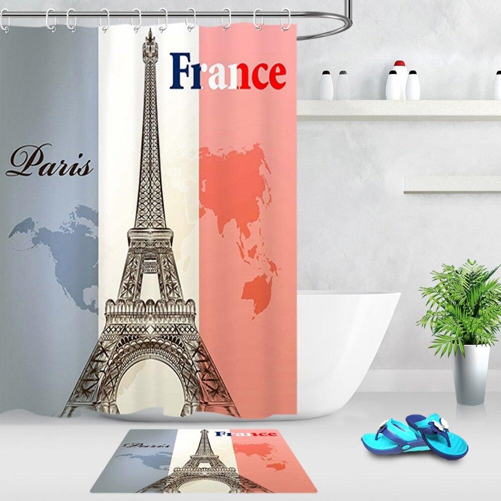 Fashion Paris Eiffel Tower Fabric Shower Curtain Set 180CM Bathroom Curtains Mat