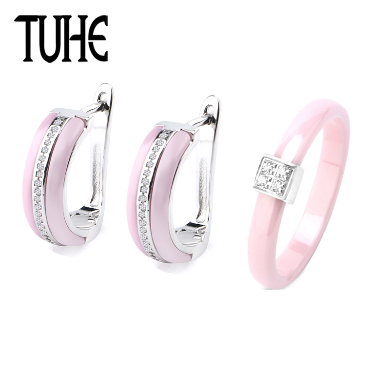 Pink Crystal Charm Silver U Shaped One Row Rhinestone Earrings 3MM Pink Ceramic Ring For Women Femme Love Fashion Jewelry Set starry pattern gold plated alloy rhinestone stud earrings for women pink pair