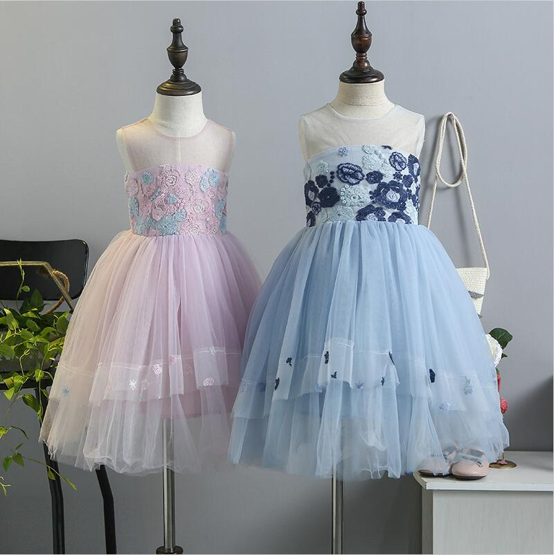 Girls Princess Dress Costume 2018 New Baby Girl  Party Dress Embroidery Kids Holiday Dress Cute Girl Costumes Children Clothes