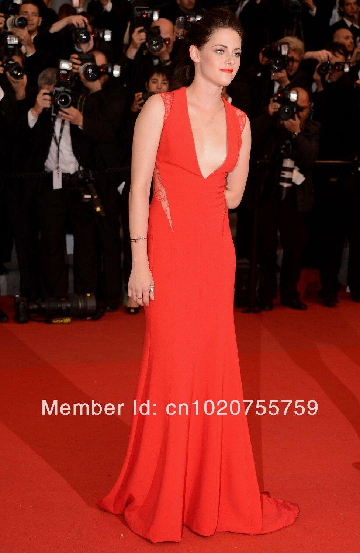 кристен стюарт красный погружаясь глубокий с V-образный вырез красный платье с сексуальное чистой кружева назад оптовая продажа