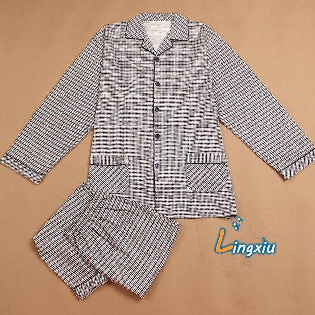 Men Sleep Nightshirt For Pajamas Autumn long sleeve knitted cotton sleepwear Plus the size Pajama Set Can wear 150KG
