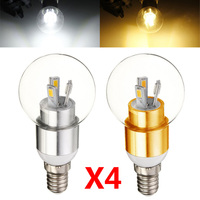 Hot Sales 4pcs High Quality 3W E14 5630SMD LED Lamp Candle Bulb Light Warm White Cool