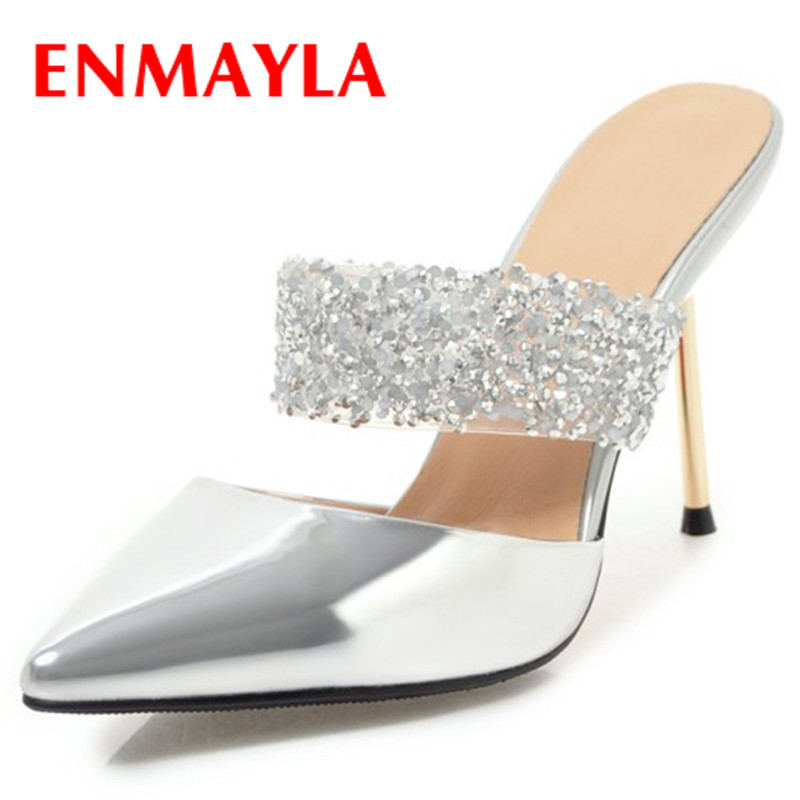 ENMAYLA Slingbacks Shoes Woman High Heels Summer Sandals Pumps Red Part Wedding Shoe Plus Size 34-43 Shallow Slip-on Sandals enmayer cross tied shoes woman summer pumps plus size 35 46 sexy party wedding shoes high heels peep toe womens pumps shoe