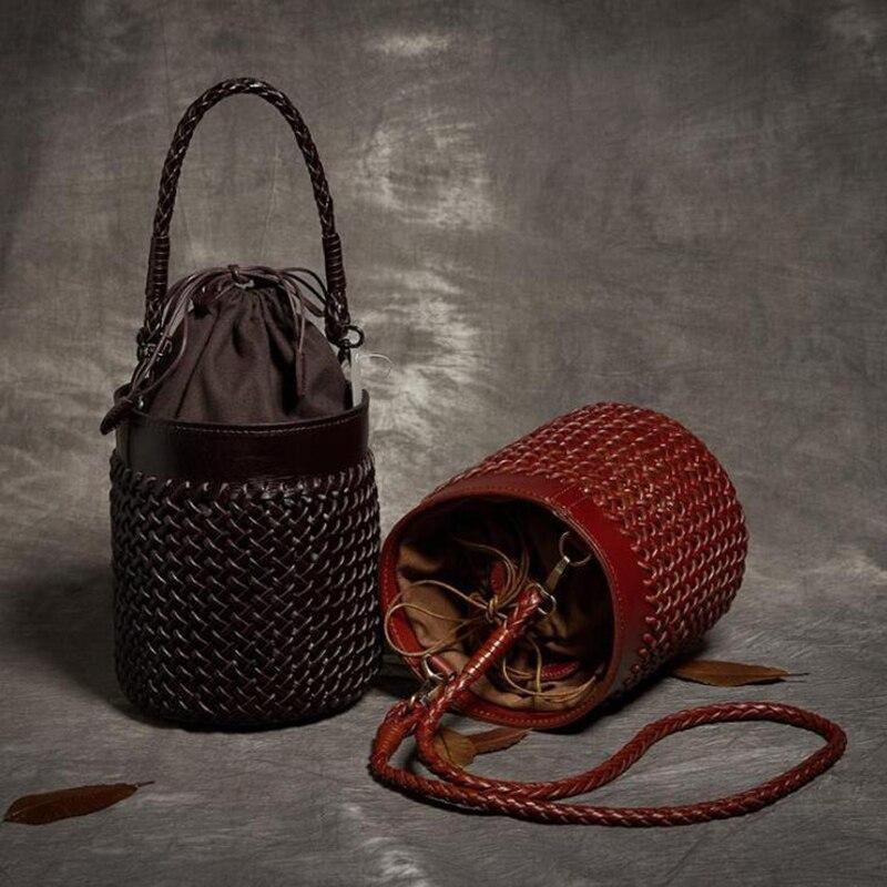 NIUBOA Genuine Leather Bag Women Euro Manual Barrel-Shaped Woven Handbag Ladies Casual Cowhide Messenger Shopping Shoulder Bag